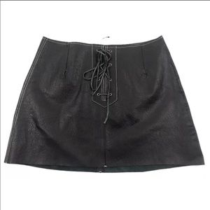 Free People Join Hands Genuine Leather Mini Skirt